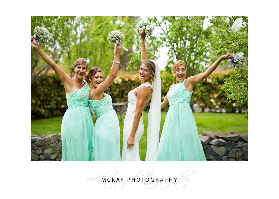 Bridesmaids excited fun photo