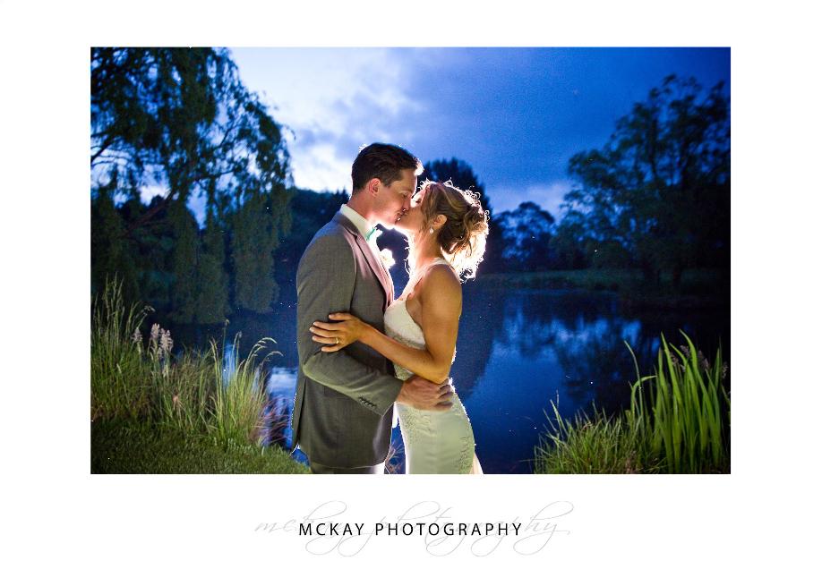 Flash backlit night shot at Briars lake during wedding in Bowral