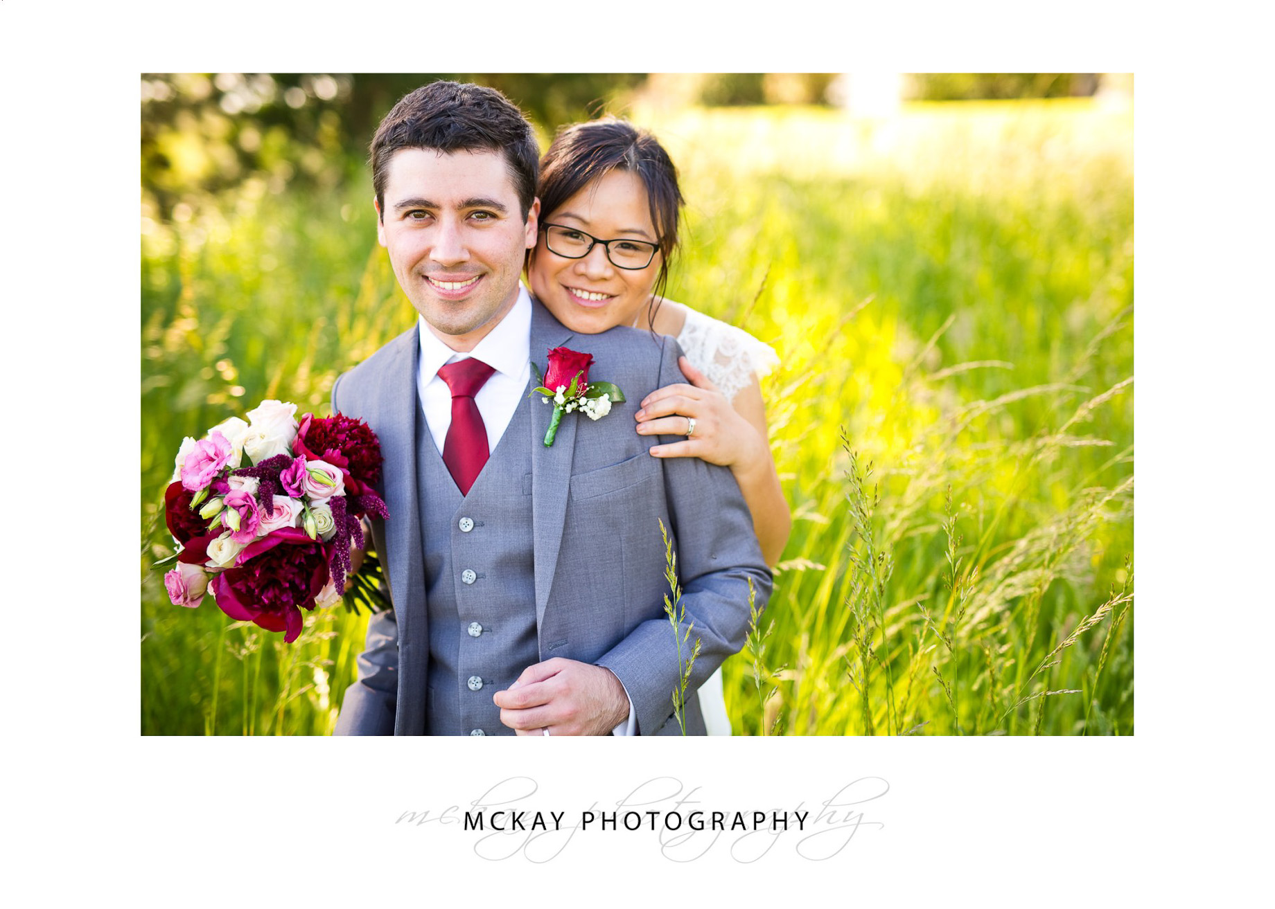 Wedding colour at Briars photos in grass field
