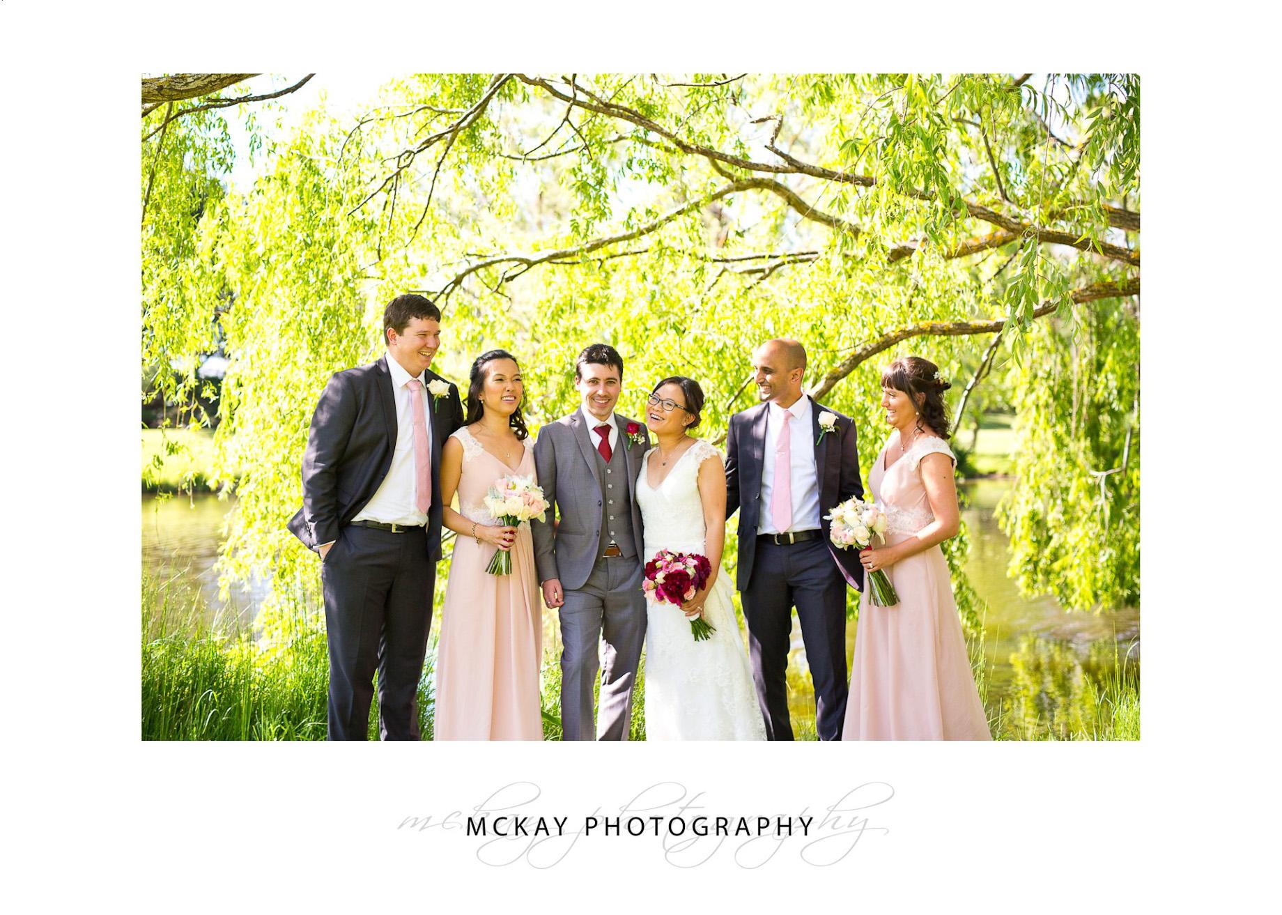 Bridal party at Briars near lake