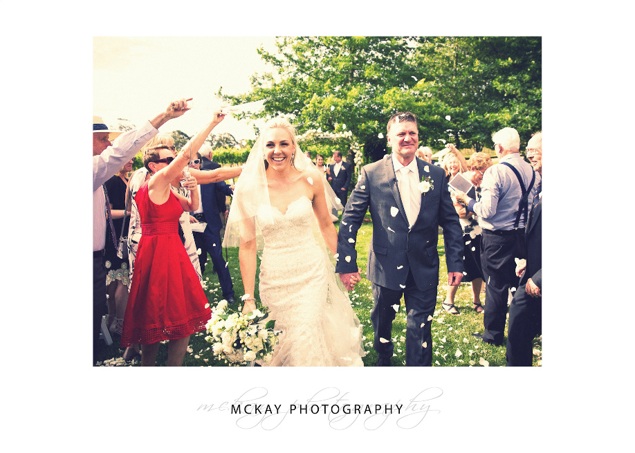 Wedding ceremony aisle exit with flowers