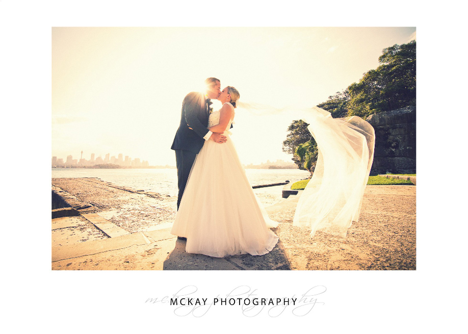 Sun veil flying wedding photo