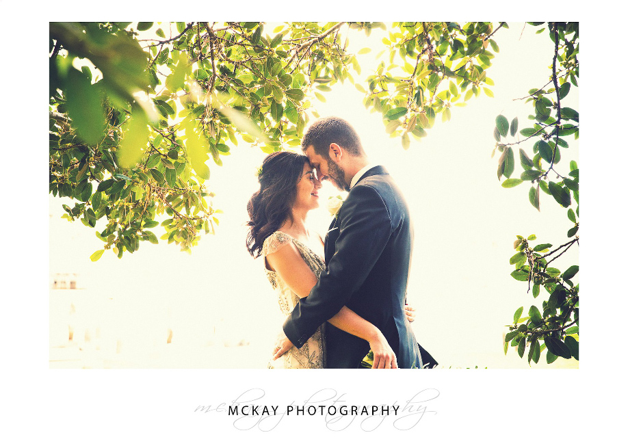 Wedding photo backlit