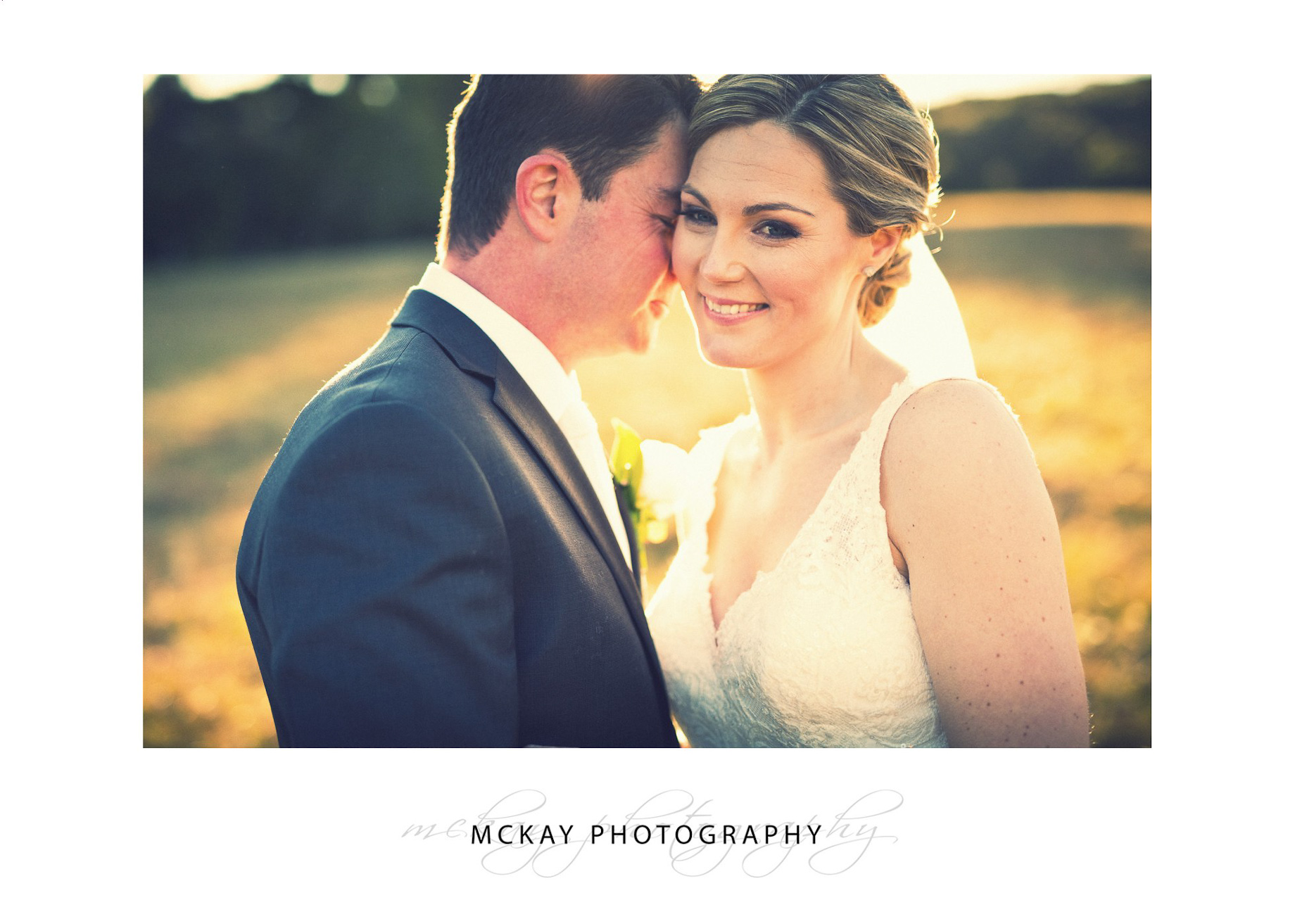 Close up bride with sun flare backlit photo