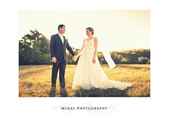 Bowral wedding photo field sunset