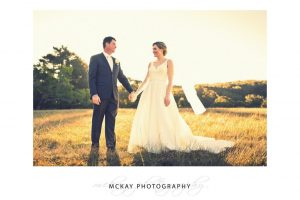 Bowral wedding photo field sunset