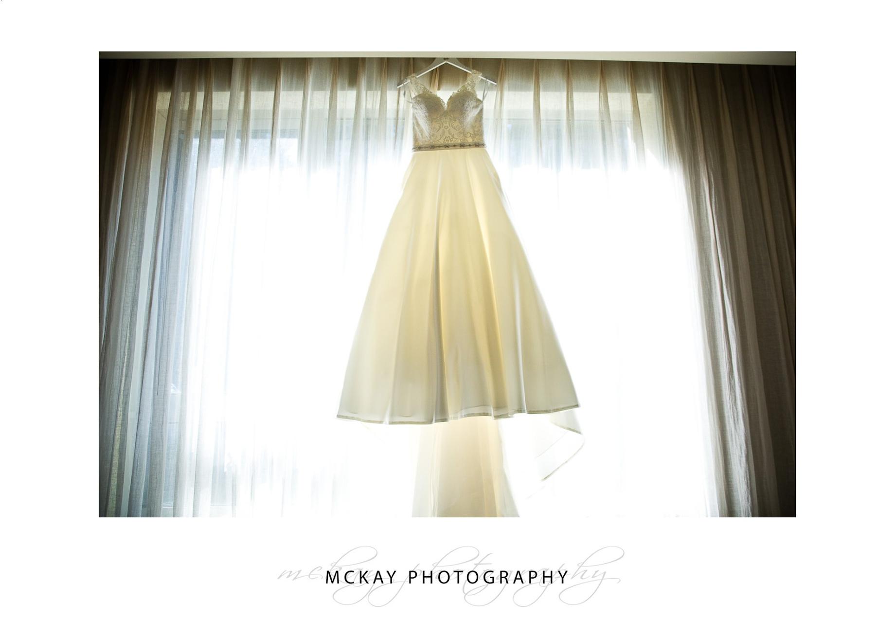 Bride dress hanging