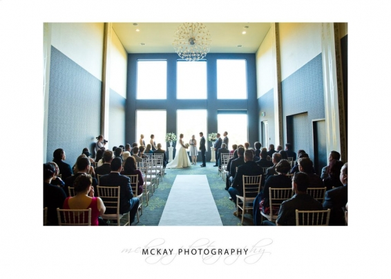 Wedding ceremony in Gallery room at Gibraltar Hotel