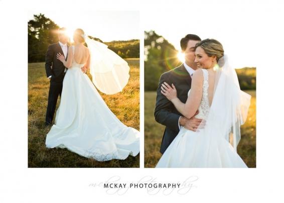 Sunset light flare wedding photography Bowral