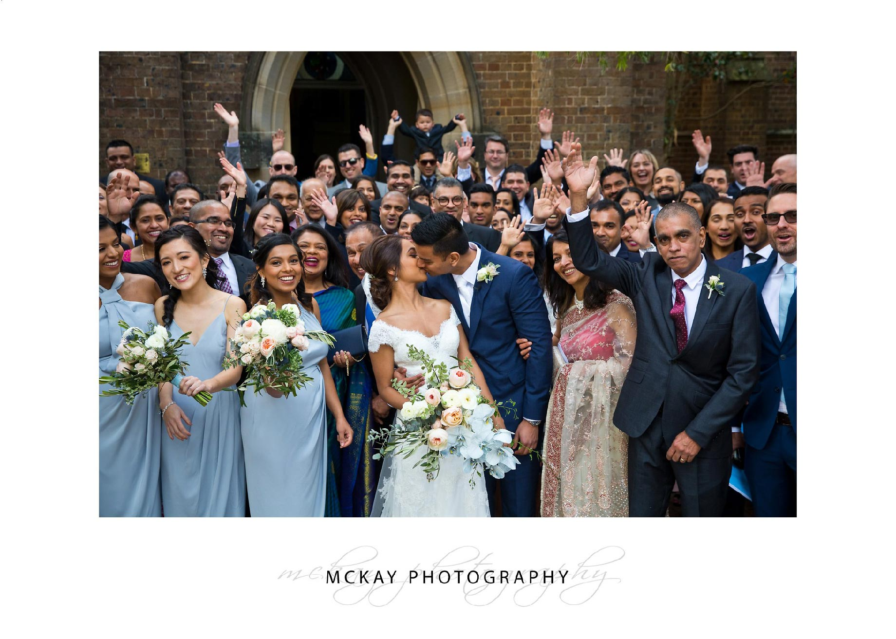Wedding group shot outside St Pauls Church Camden