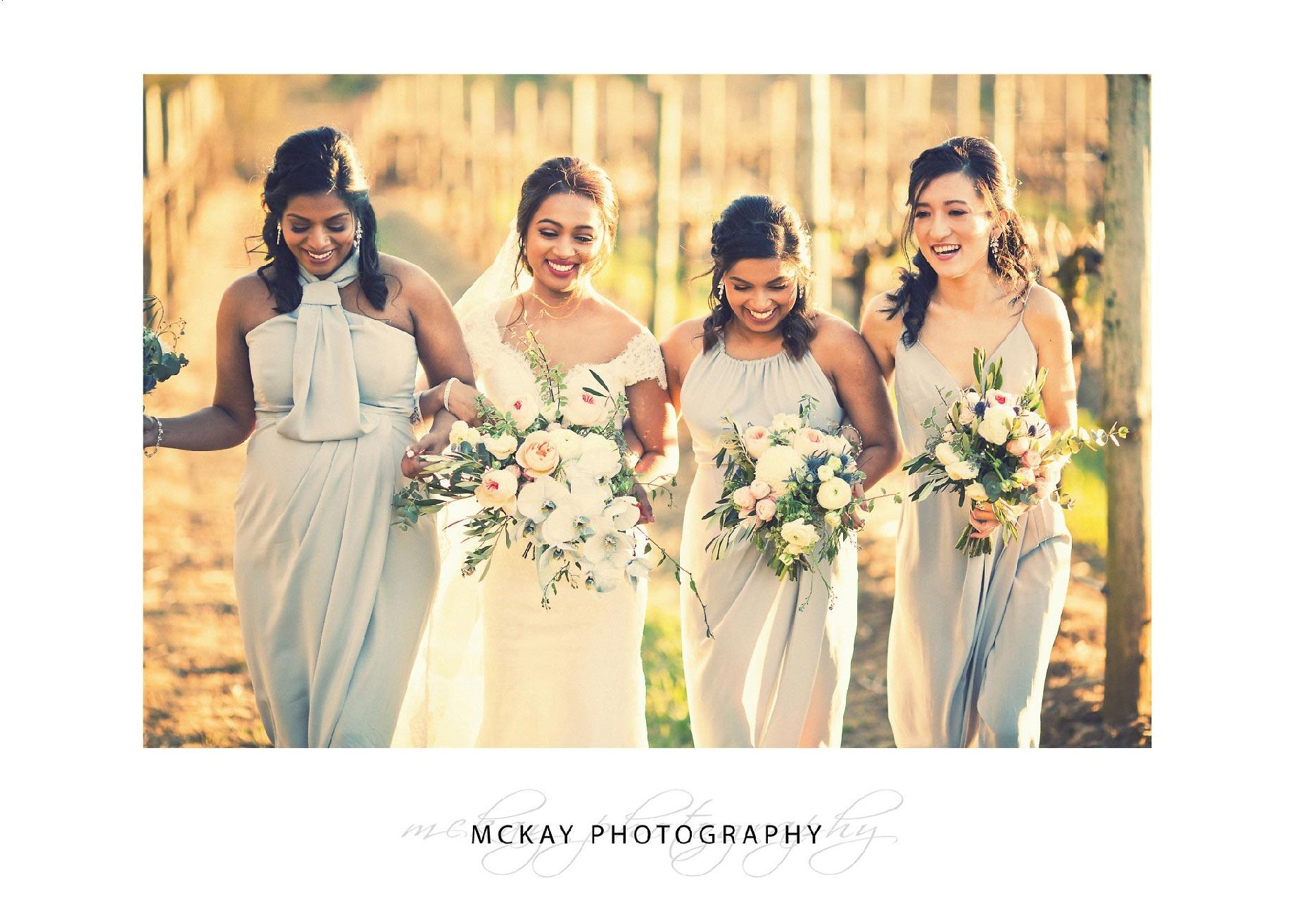 Ayoni & bridesmaids in the vineyards