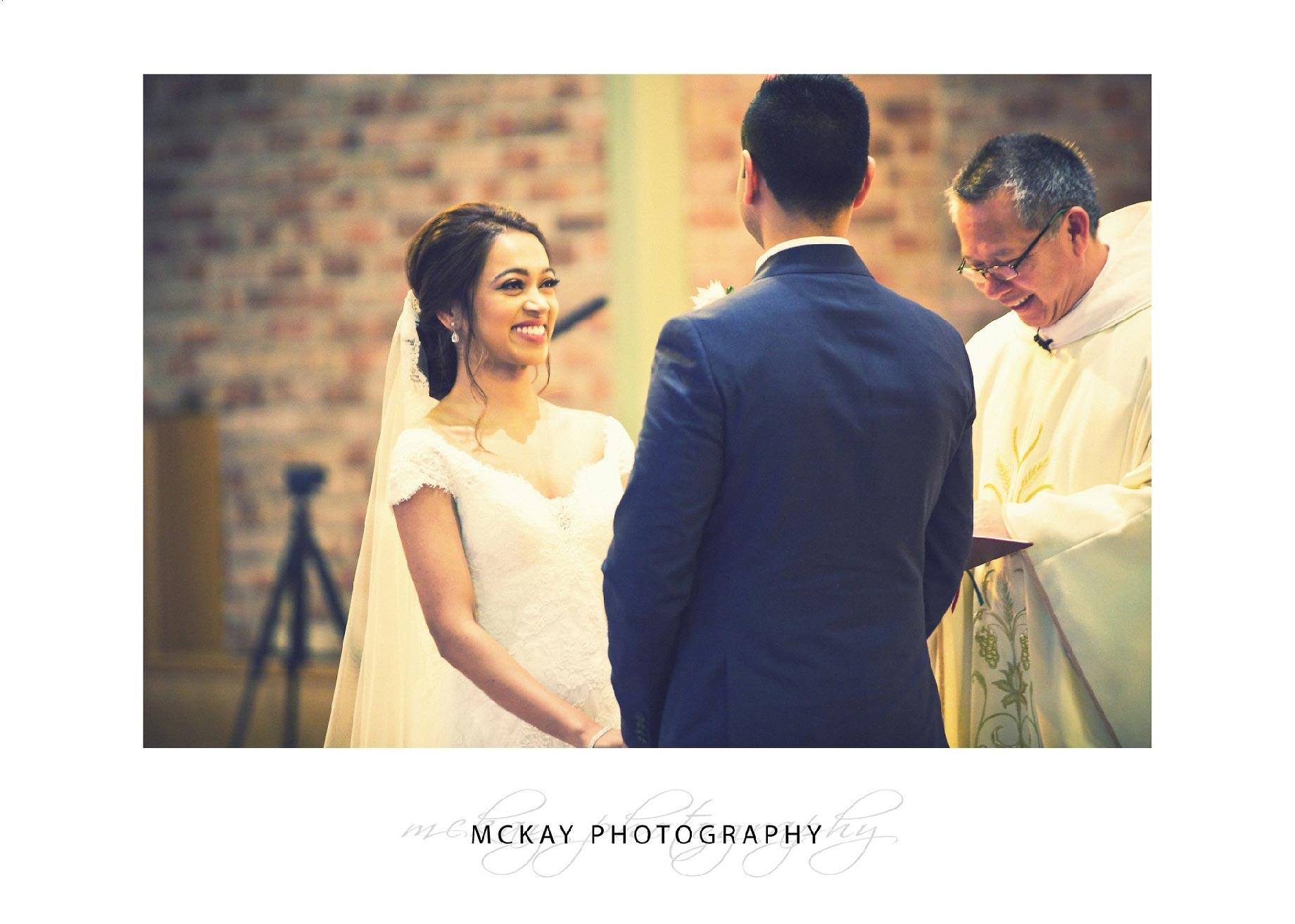 Wedding ceremony St Pauls Catholic Church Camden
