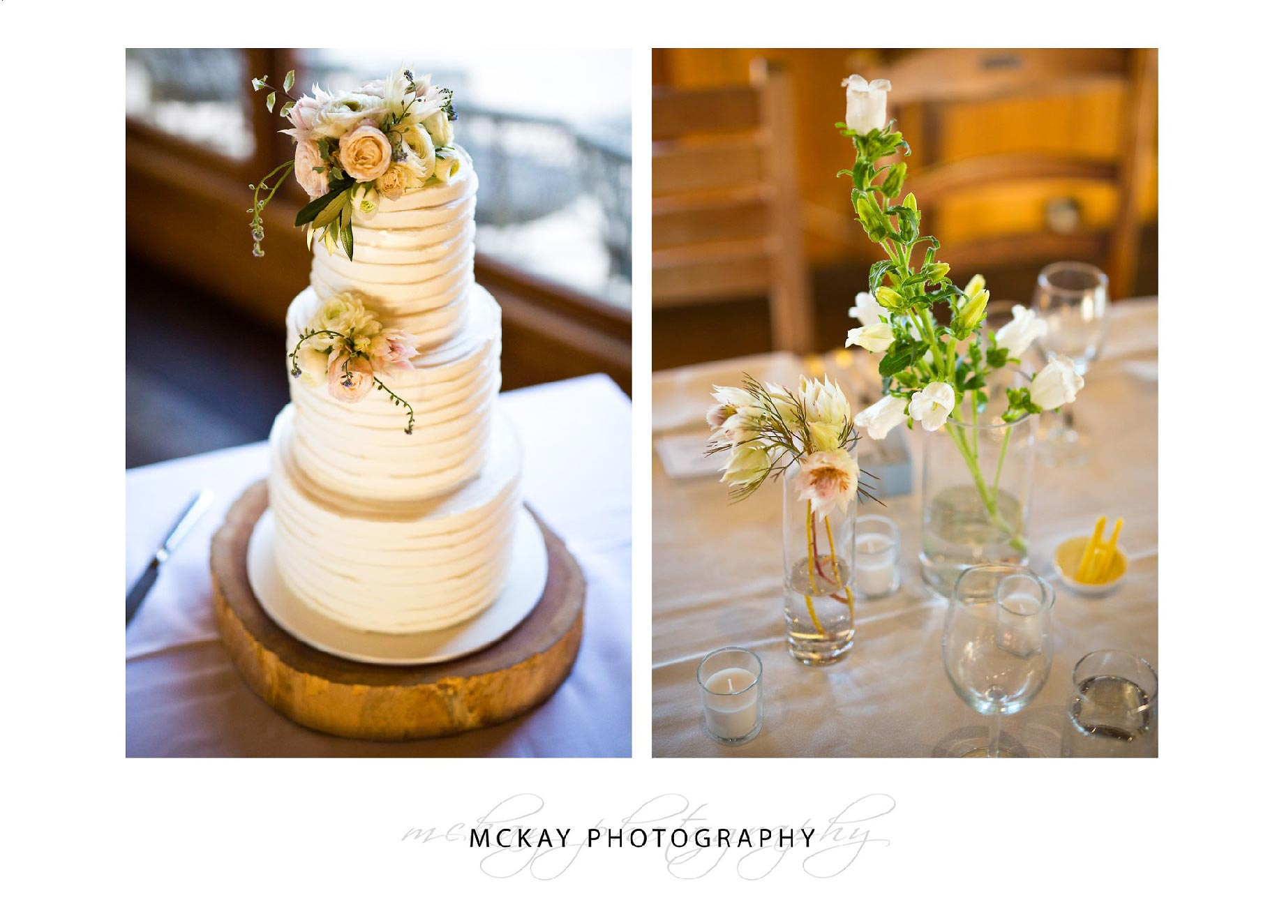 Wedding cake and table flower detail