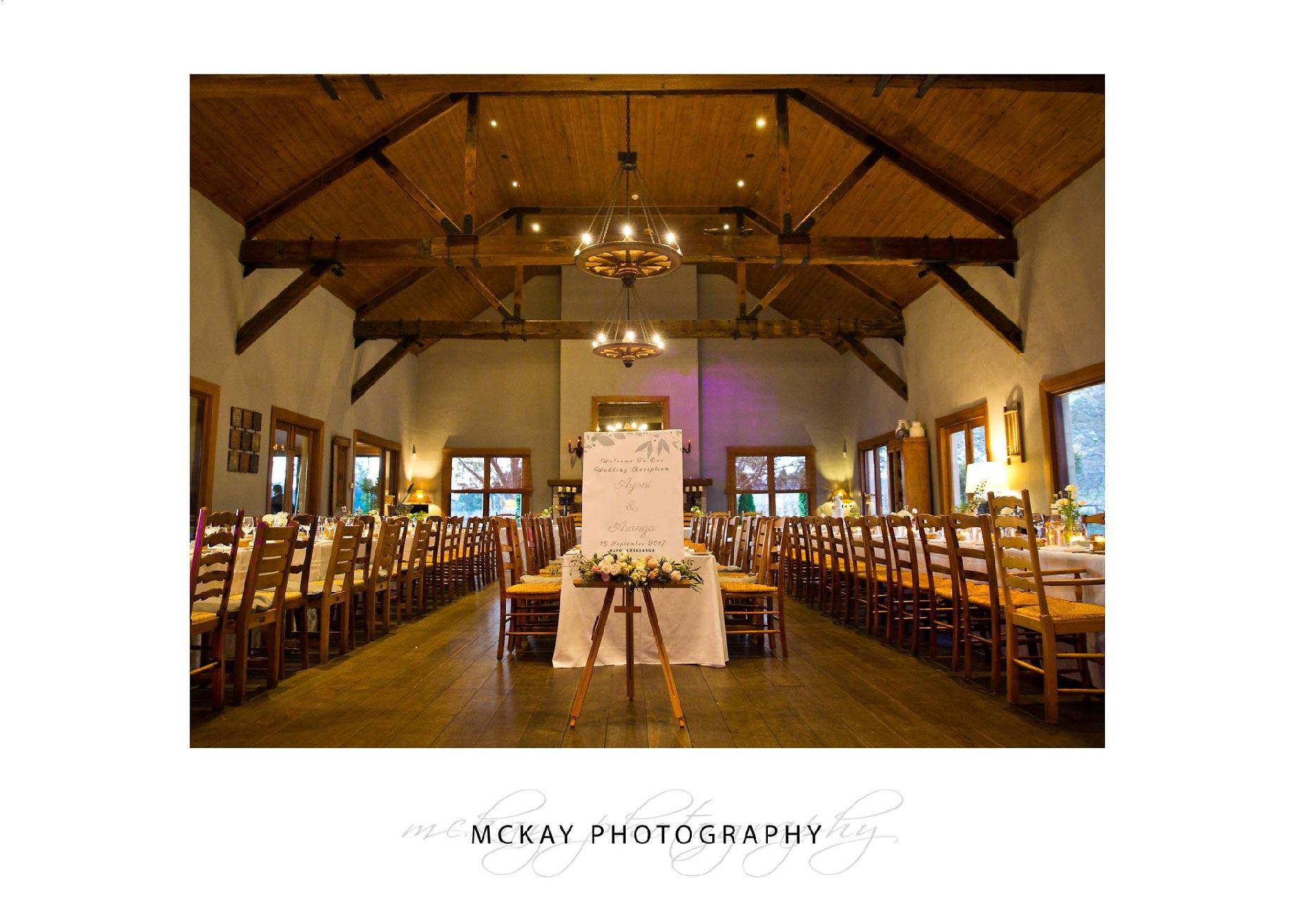 Centennial Vineyards wedding room set up