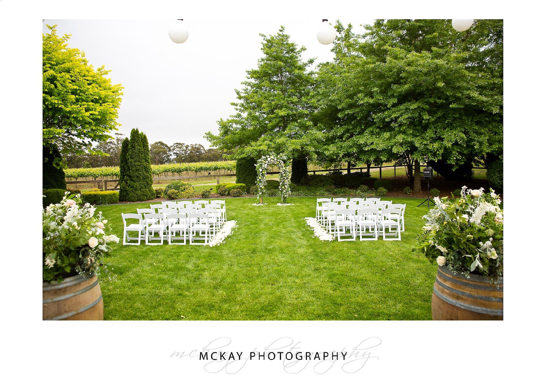 Centennial Vineyards wedding ceremony set up on lawn