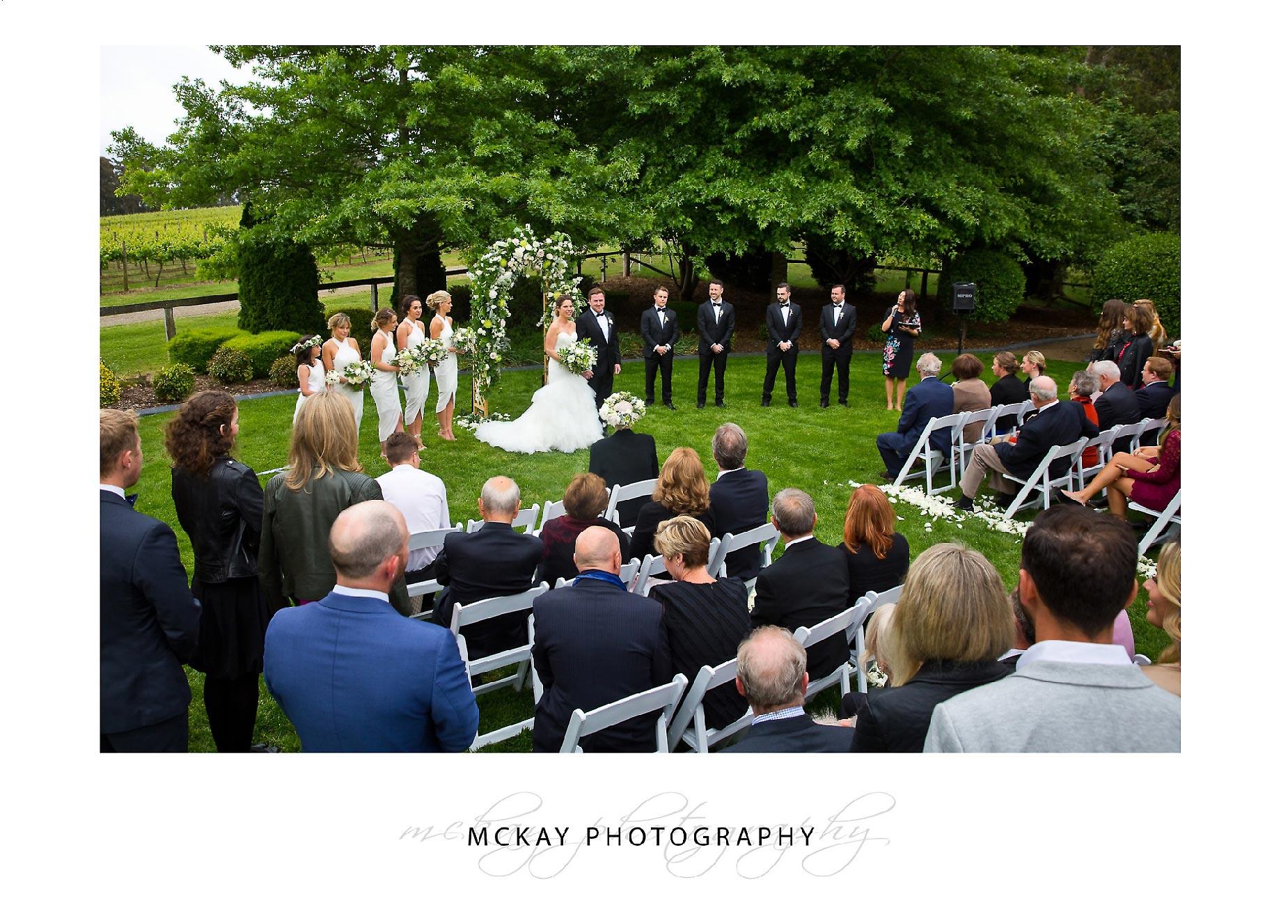 Centennial Vineyards Bowral wedding ceremony set up on lawn