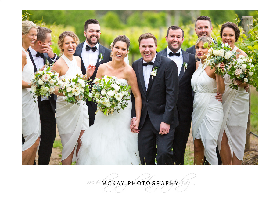 Bridal party laughing fun photo Bowral