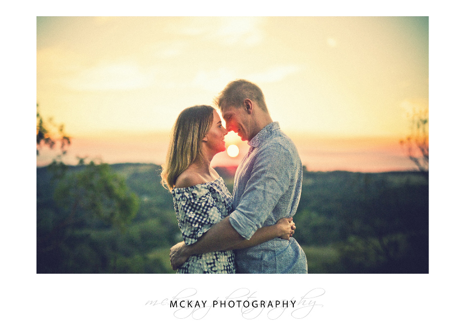 Engagement photo at Sunset glow Mt Gibraltar Bowral