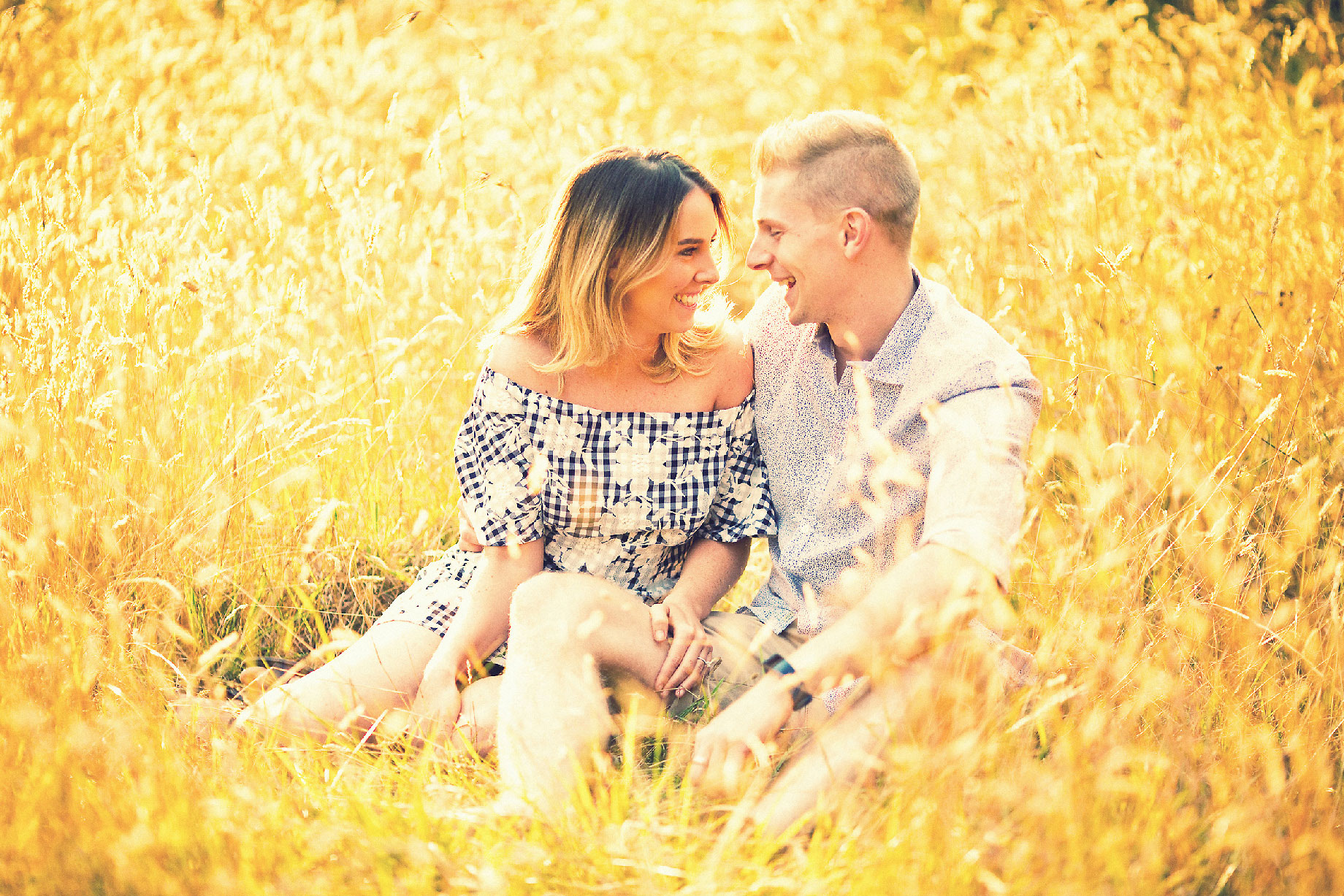 Engagement couple Long grass Bowral