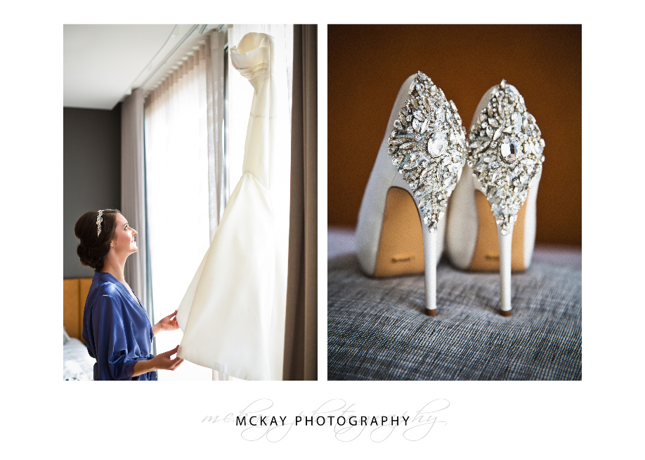 wedding shoes and wedding dress details