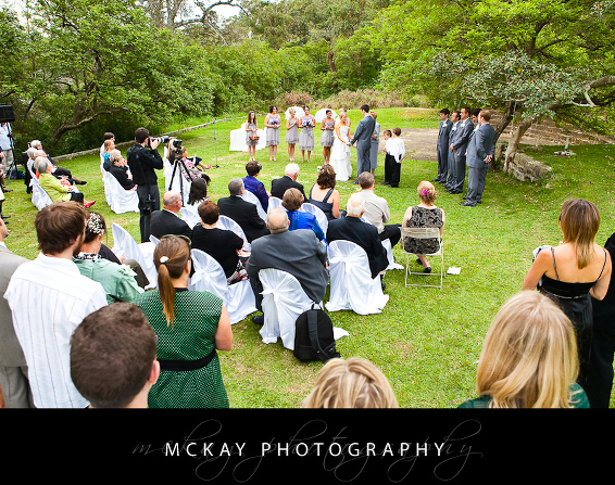 Athol Hall wedding ceremony on lawn