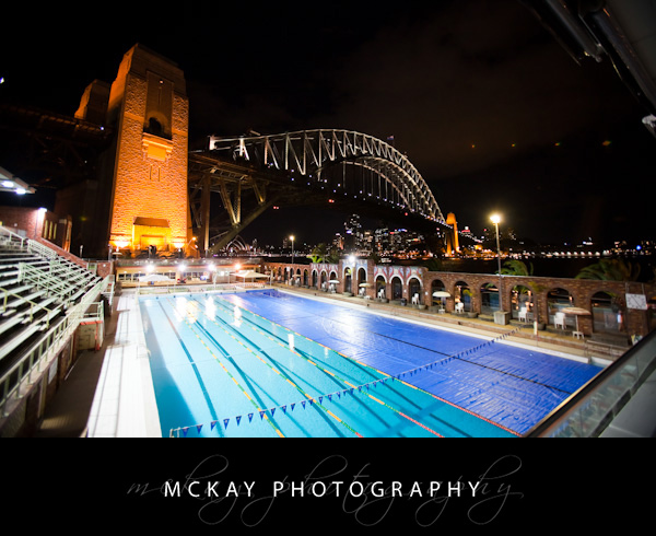 Aqua Dining view at night pool Harbour Bridge