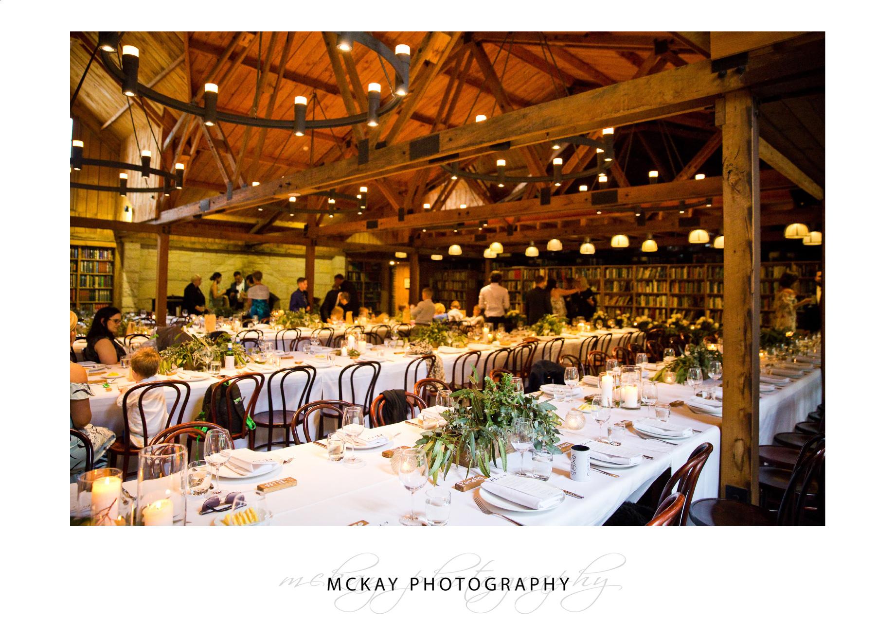 Wedding set up Bendooley Book Barn