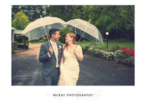 Rain wedding photo Sylvan Glen wedding