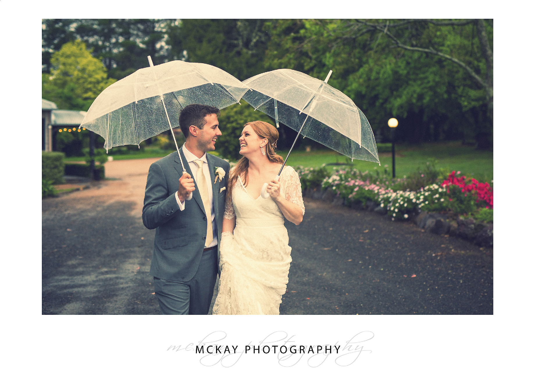 Rain wedding photo Sylvan Glen wedding