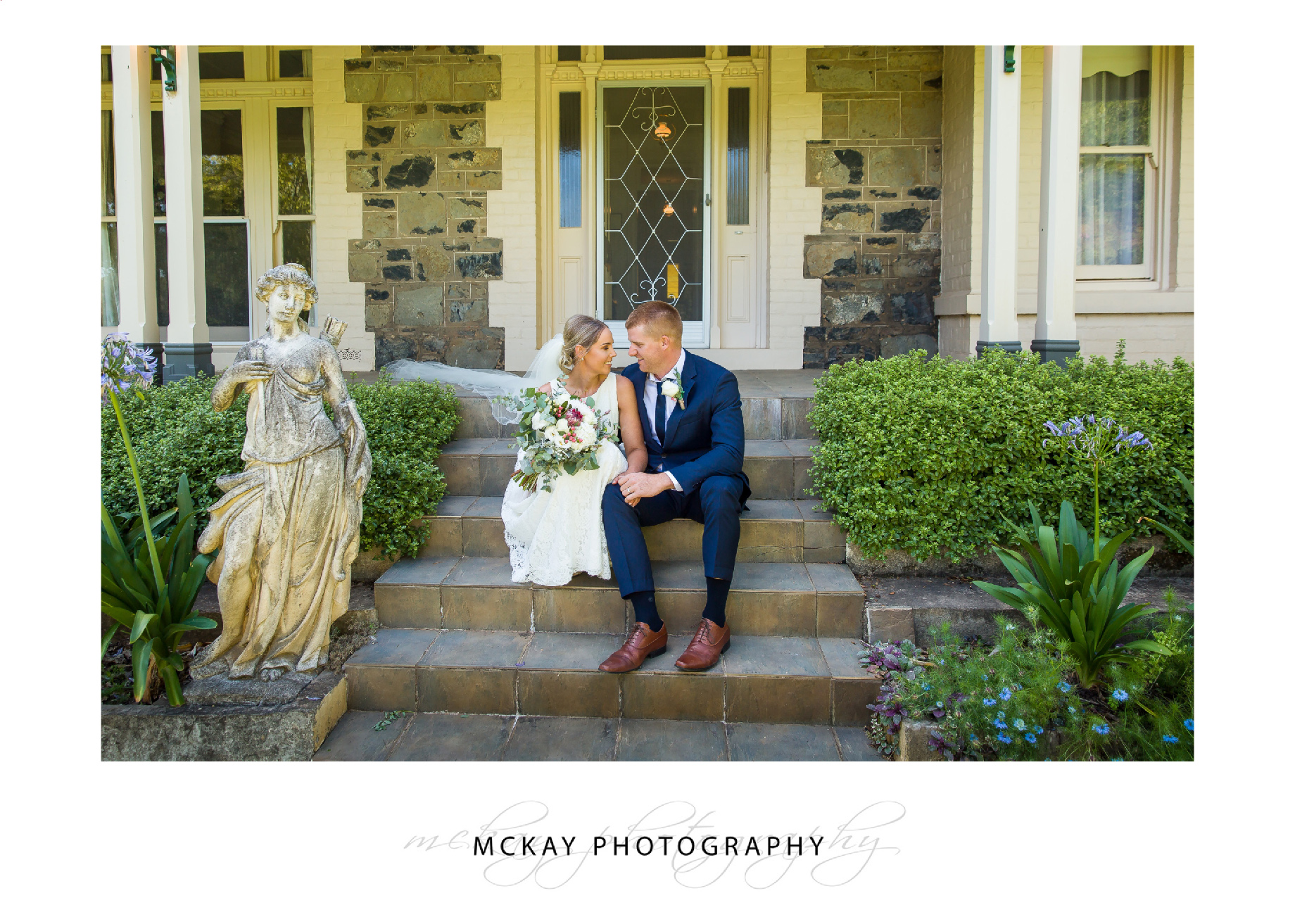On the steps of the old homestead at Leeston wedding