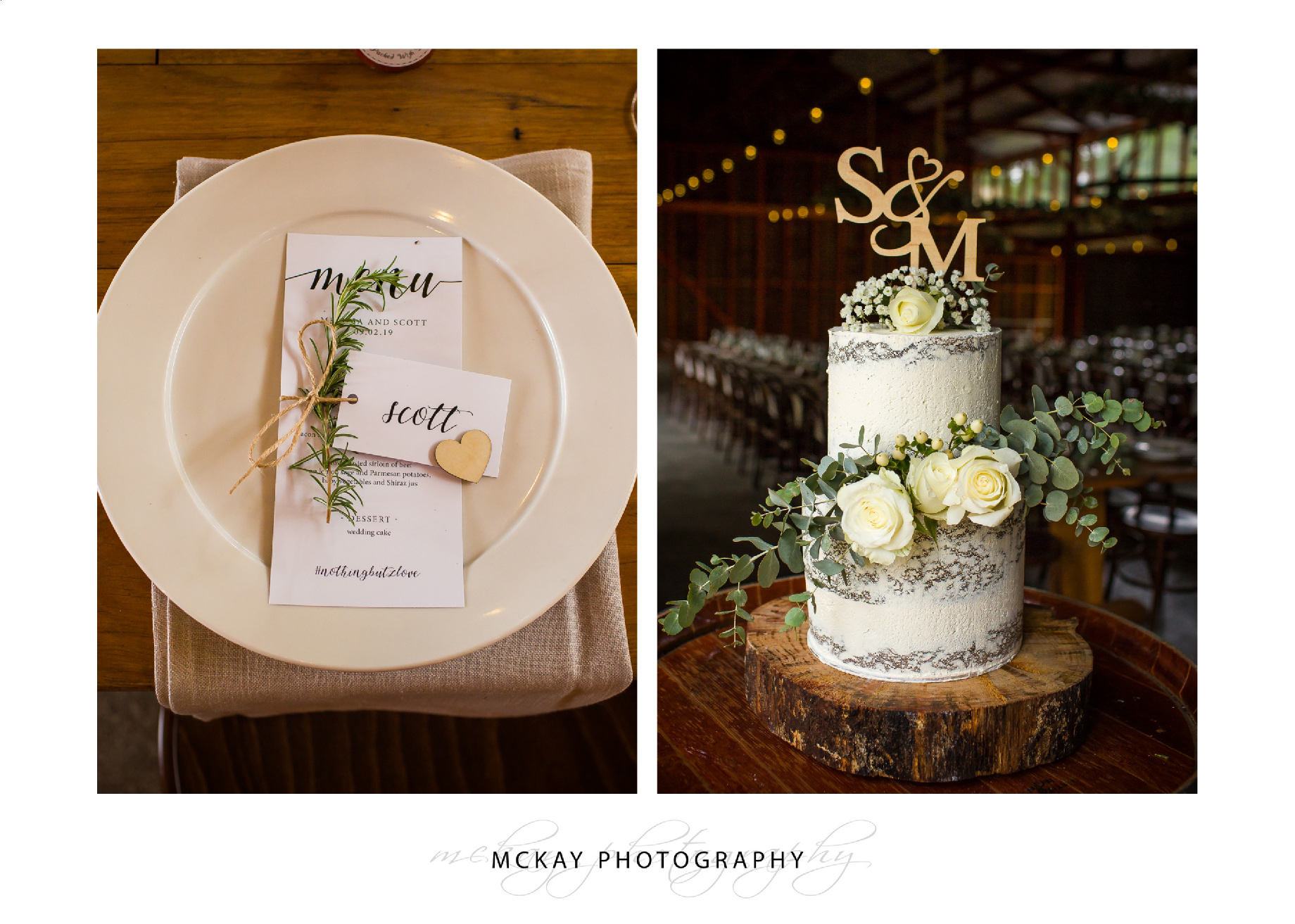 Wedding cake and table setting details