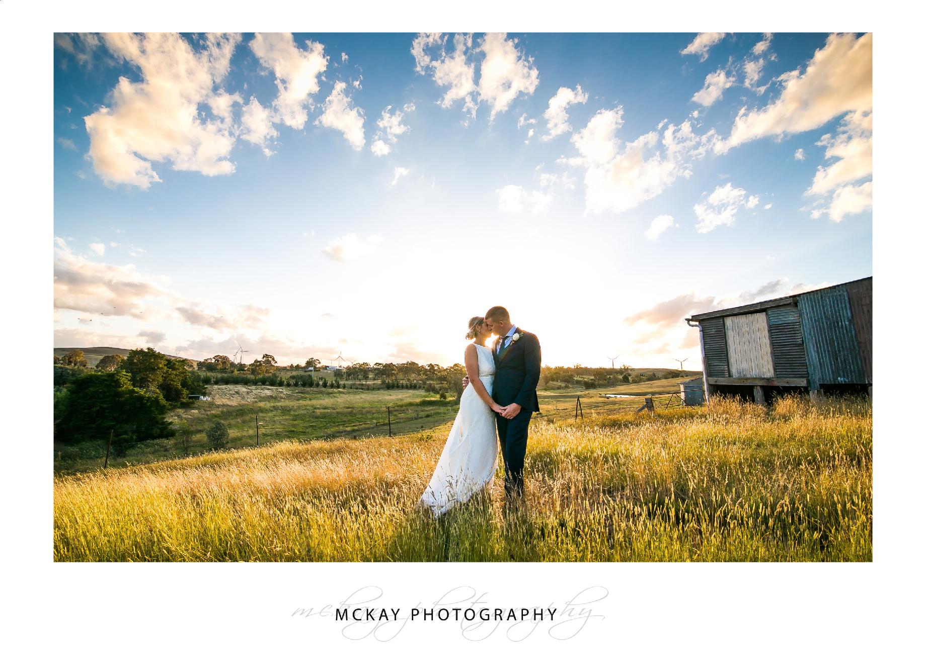 The Barn at Leeston sunset wedding photo