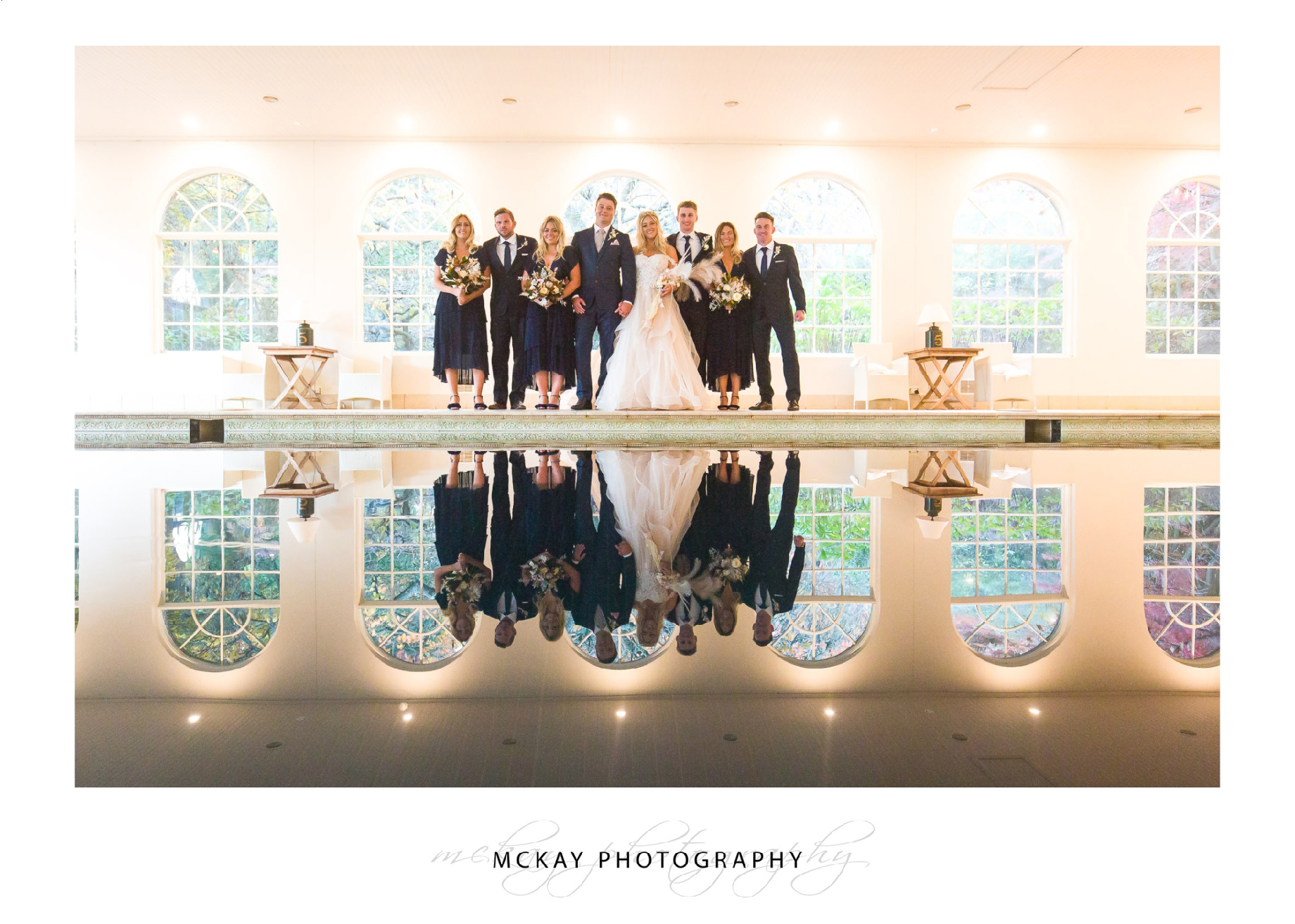 Pool House Milton Park wedding bridal party