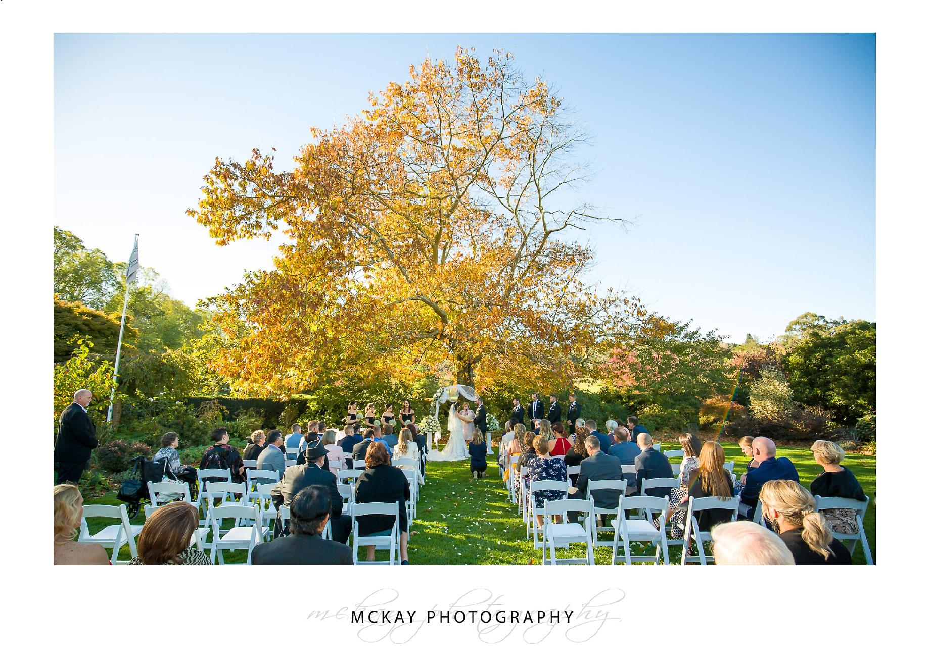 Oak tree lawn ceremony Peppers Craigieburn Wedding Bowral