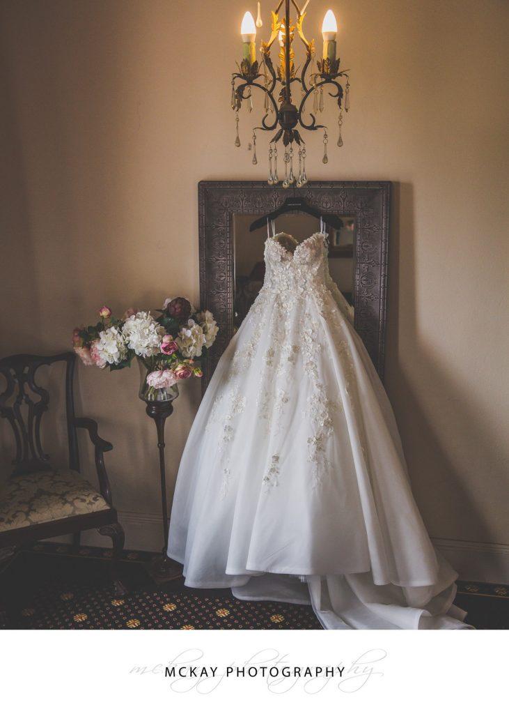 Ravensthorpe wedding preparations dress hanging mirror beautiful